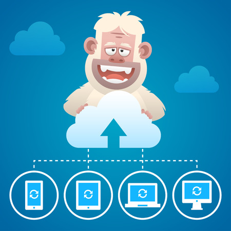 yeti: Cloud concept communication devices and character Yeti