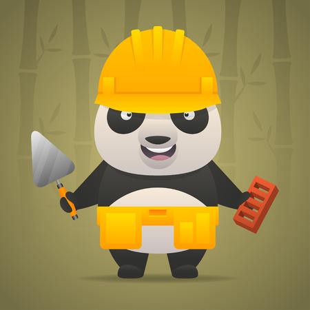 Panda character builder in helmet Vector