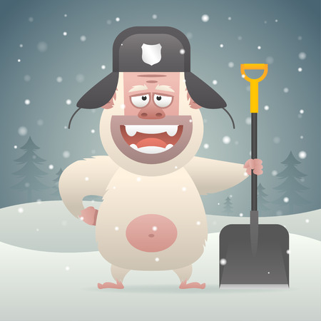 Yeti character holding shovel in winter forest Vector