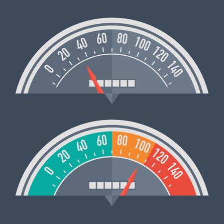 kph: Speedometer retro classic Illustration