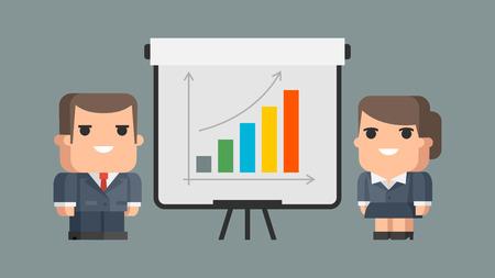 Businessman business woman and flip-chart Vector