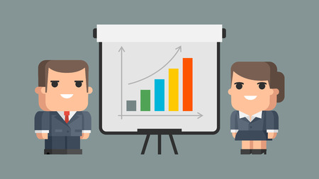 general manager: Businessman business woman and flip-chart Illustration