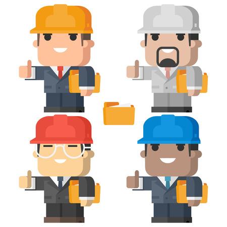 ingeniero caricatura: Ingeniero hombre sonriente y mostrando los pulgares para arriba