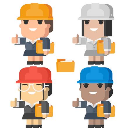 ingeniero caricatura: Ingeniero mujer sonriendo y mostrando los pulgares para arriba