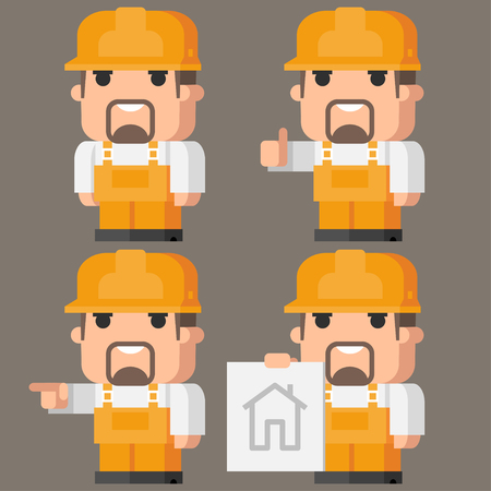 workwear: Builder Indicates in different poses Illustration