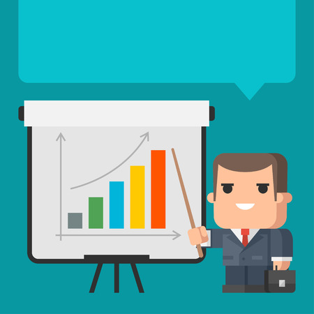 presentation people: Businessman points on flip-chart concept
