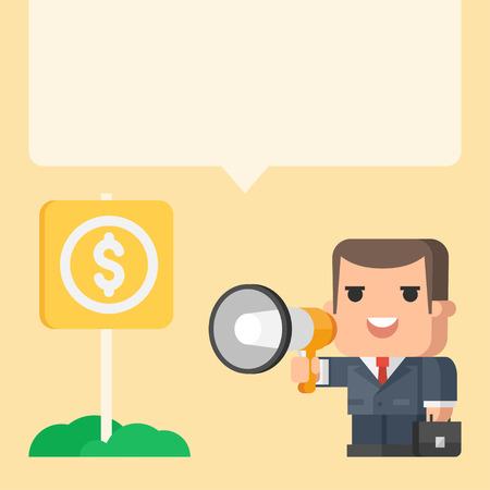 Businessman holding megaphone concept 矢量图像