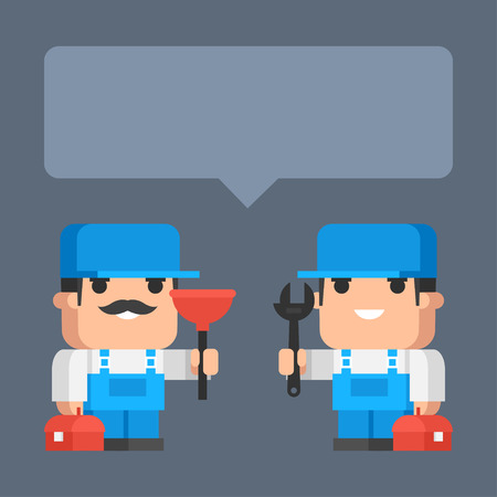Two plumber smiling and holding tool concept Ilustracja