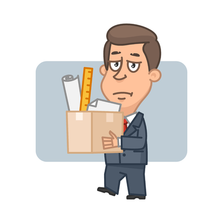 downsizing: Character businessman holding box with things