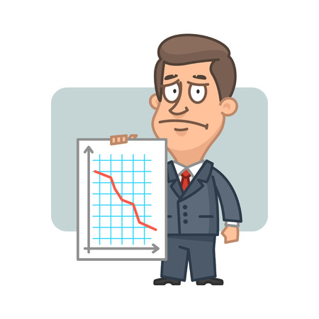 collapsing: Character businessman holding graph collapse Illustration