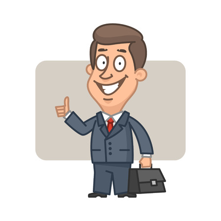 happiness or success: Businessman holding suitcase and showing thumbs up