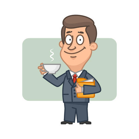 Character businessman holding cup of coffee
