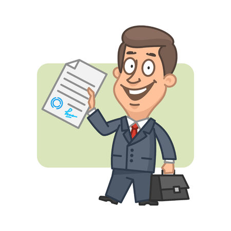 Character businessman holds in hand signed document Vector