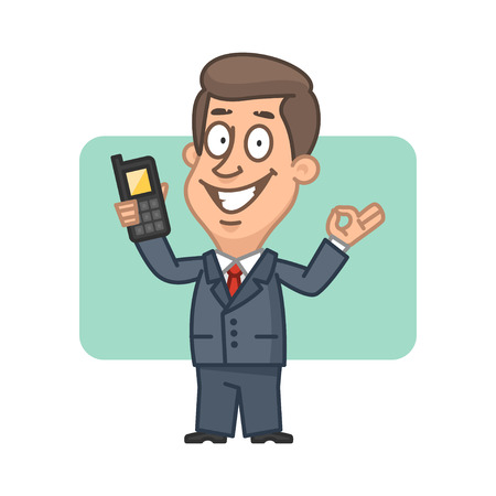 Businessman holding mobile phone and shows ok