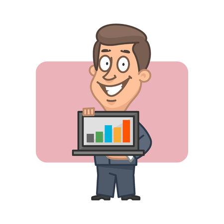 Businessman holding notebook and smiling Illustration