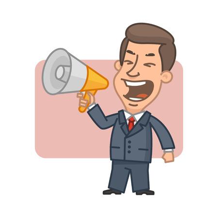 shouting: Businessman shouting into megaphone