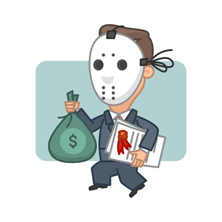 white collar crime: Businessman thief holding money and securities Illustration