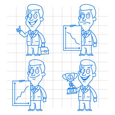Doodle businessman success and failure