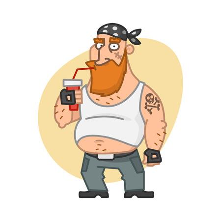 Biker man drinks beverage