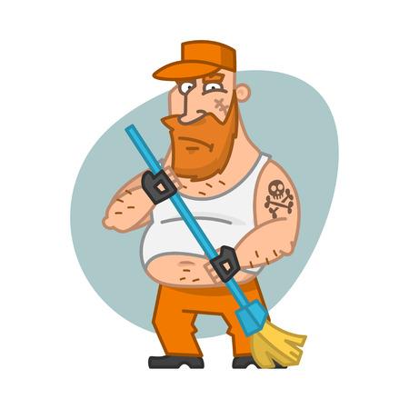 escoba: Biker hombre que sostiene la escoba Vectores