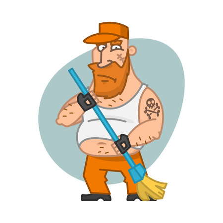 posture correction: Biker man holding broom