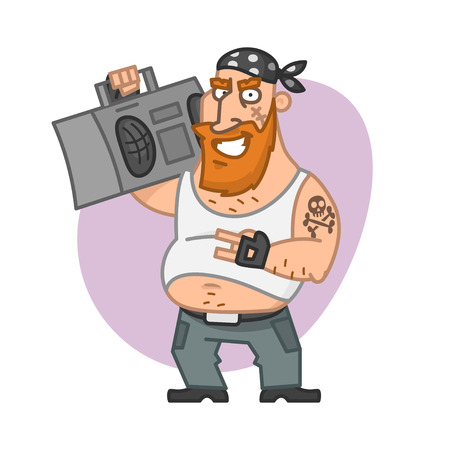 Biker man holding tape recorder and smiling Vector
