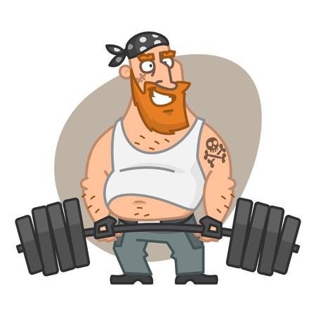 Biker man lifting barbell Vector