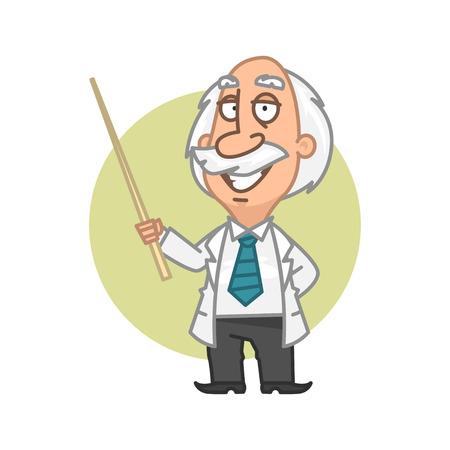 cartoon work: Professor holding in hand pointer Illustration