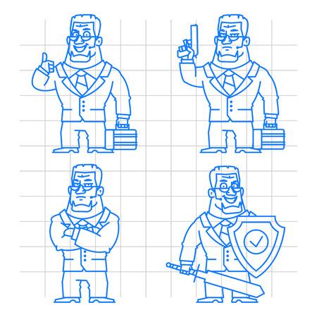 Guard doodle concept set 2