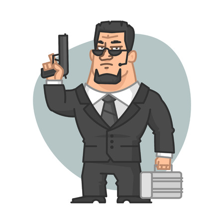 holding gun: Guard holding gun and suitcase