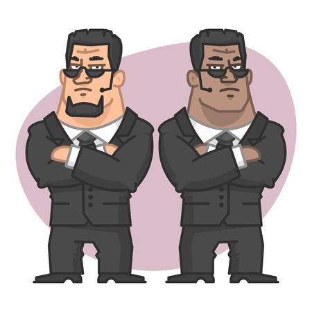 seguridad en el trabajo: Guardias de pie con los brazos cruzados Vectores