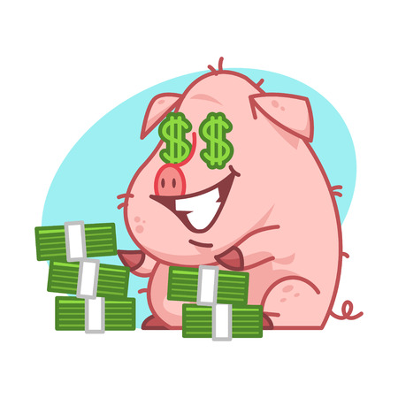 pigling: Pig character and lot of money Illustration