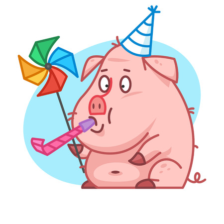 whistle: Pig character blowing in whistle