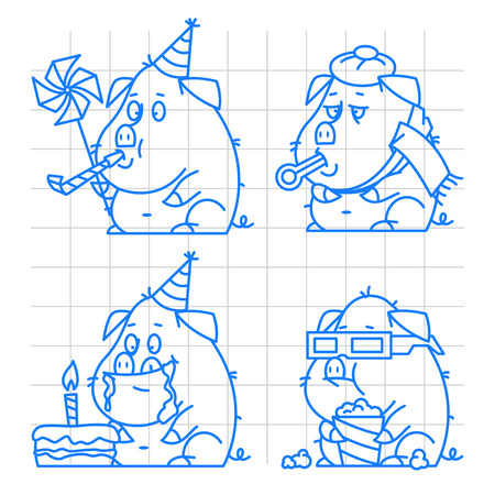 pigling: Pig character doodle concept set 1