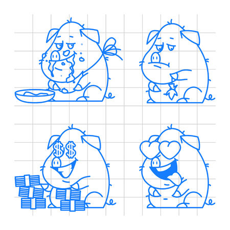 pigling: Pig character doodle concept set 2