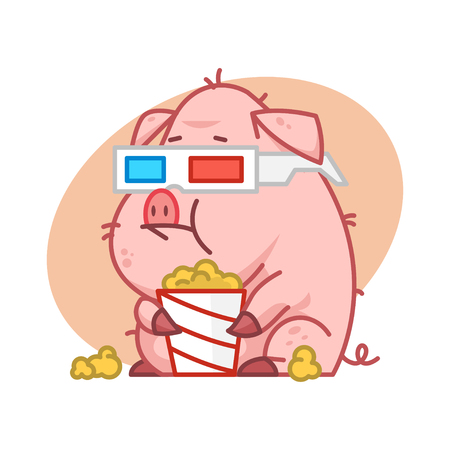 pigling: Pig character in 3d glasses eating popcorn