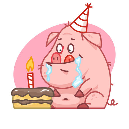 pigling: Pig character looks at cake