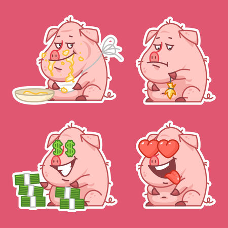 pigling: Pig character stickers concept set 2