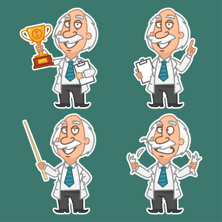 finger cartoon: Professor in various poses set stickers 1