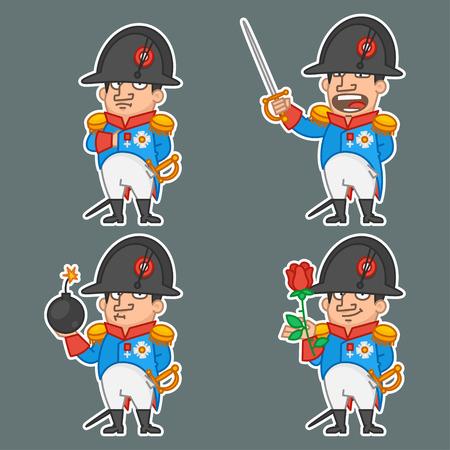 napoleon: Napoleon Bonaparte karakter in verschillende poses Stock Illustratie
