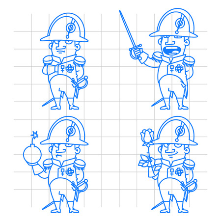napoleon bonaparte: Napoleon Bonaparte character in various poses doodle Illustration