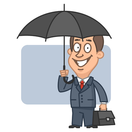 young business man: Businessman holding an umbrella and suitcase