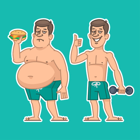 fat and slim: Thick and thin man characters Illustration