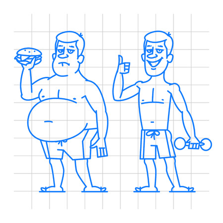 two thumbs up: Thick and thin man characters doodle Illustration