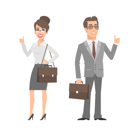 hombres ejecutivos: Hombre de negocios y empresaria que muestran los pulgares para arriba