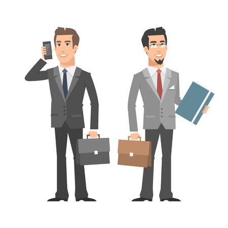 telefono caricatura: Hombre de negocios hablando en el teléfono que sostiene la carpeta maletín Vectores