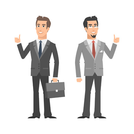 cartoon suitcase: Two businessman smiling and showing thumbs up Illustration