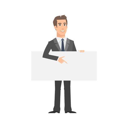 nameplate: Businessman indicates on empty nameplate Illustration