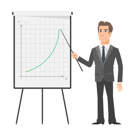 male teacher: Businessman indicates on flip chart and smiling Illustration