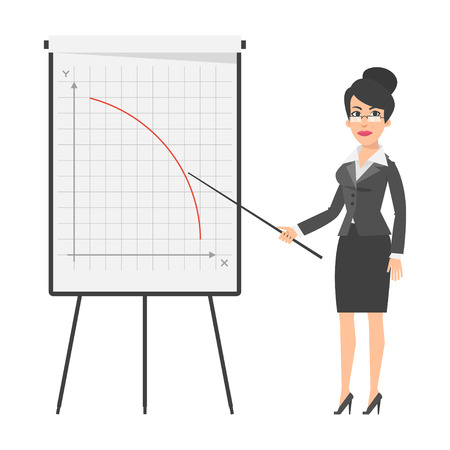 collapsing: Businesswoman and falling graph